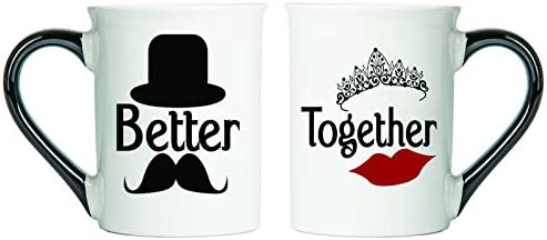 Better, Together Mugs (Mustache and Lips) Set Of Two Coffee Cups, Spouse Mugs, Ceramic Mugs, Custom Gifts By Tumbleweed