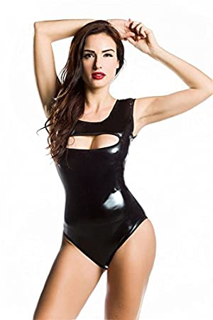 HYISHION Lencería Sexy Mujer Latex Bodysuit Mono Ropa Interior Camisón Wetlook Negro Clubwear Cosplay Catsuit Costume
