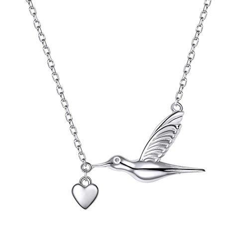 Hummingbird Pendant Sterling (SILVERCUTE Novelty Heart Hummingbird Women Necklace 925 Sterling Silver Fine Jewelry Bird Pendant & Chain)