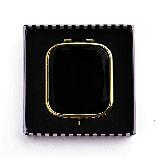 Chic Black and Gold Jeweled Compact Mirror by Liz Cloth (Jeweled Compact Mirror)