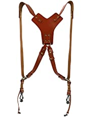 Camera Accessories Dual Harness Two Cameras Leather Buckles Adjustable Shoulder Strap Holder Holster DSLR Multi Accessories (One Size, 95-Brown(Y Type Dual Shoulder))