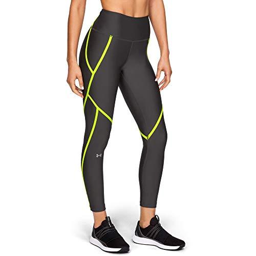 Under Armour Women's HeatGear Armour Edgelit Ankle Crop Leggings, Jet Gray (010)/Metallic Silver, Medium