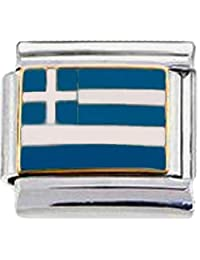Stylysh Charms GREECE GREEK FLAG Enamel Italian 9mm Link PE013