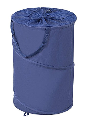 Internet's Best Circle Pop Up Laundry Hamper | Collapsible Laundry Bag with Mesh Drawstring Lid | Carry Handles | Dirty Laundry Sorter Basket | Blue