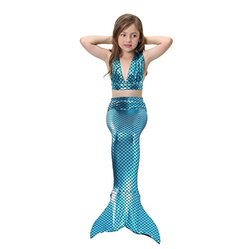 Lonchee Girl's 3pcs Mermaid Tail Swimmable Princess Bikini Set [ V tie style ] Costume Swimsuit Can Match Monofin for Swimming (50s Costumes Images)