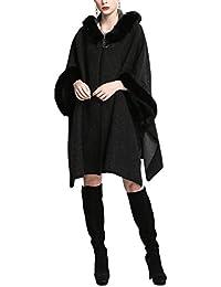 Women's Luxury Batwing Sleeve Faux Fur Hooded Cloak Poncho Sweater Cape