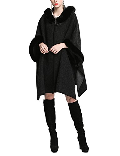 Gihuo Women's Luxury Batwing Sleeve Faux Fur Hooded Cloak Poncho Sweater Cape (One Size, Black) ()
