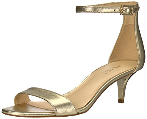 Nine West Women's Leisa Heeled Sandal, Light Gold/Metallic, 6 M US