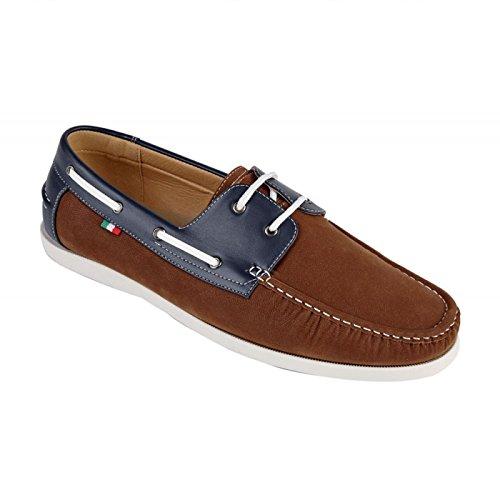 D555 Cuero/PU/Ante Mix Cintas Zapatos Náuticos (Luther) en marrón Marron