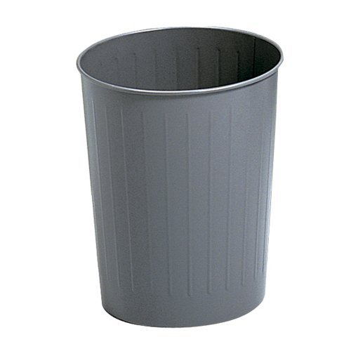 Safco Products Round Fire Safe Steel Wastebasket, 23-1/2 Quart, Charcoal, 9604CH by - Steel Charcoal 23.5 Quart