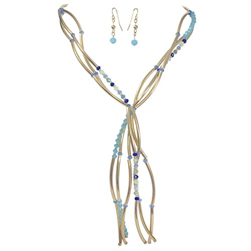 (Gypsy Jewels Y Tassel Layered Glass & Curved Tube Beads Gold Tone Necklace and Earrings Set (Blue Tones))