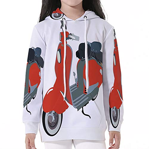 Baby SweatshirtPullover Hooded,1960s Decorations,Motor Scooter Doodle in Nice Si