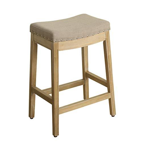 HomePop Blake Backless Counter Barstools, 24-inch, Linen (Rectangle Bar Stools)