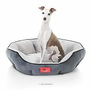 Amazon.com : BRINDLE Washable Round Bolster Dog Bed - Gray