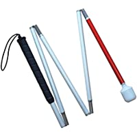 Aluminum mobility folding cane for the blind (folds down 5 sections)