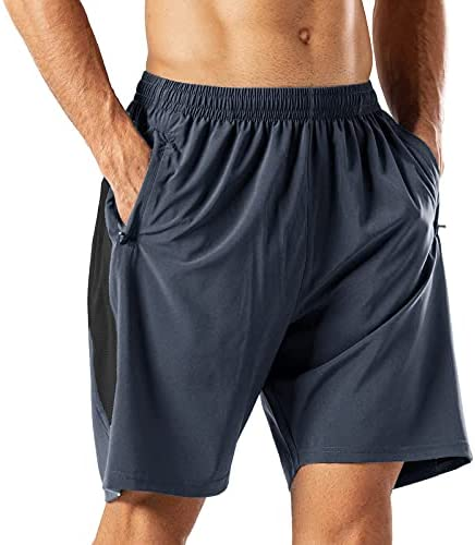 Men's Side Mesh Short Running Workout Comfy Shorts Dry-Fit Sweat Drawstring Stretch Active Athletic Performance with Pockets