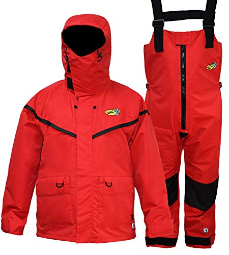 Navis Marine PRO Foul Weather Gear Fishing Rain Suits for Men Sailing Waterproof Jacket with Bib Pants Removable Insulated Liner 3 Pieces (Red,L)
