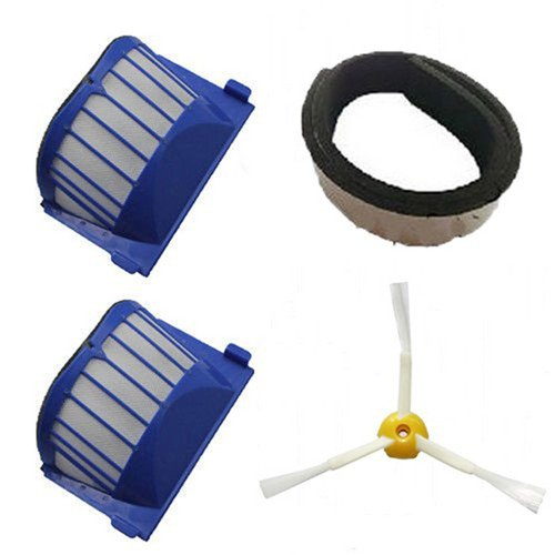 FBSHOP(TM) 1 x Rubber Bumper Guard Black Pad & 2 x Aero Vac Filter & 1 x Side Brush 3-Armed for iRobot Roomba 500 600 Series 536 550 551 552 564 620 630 650 660 Vacuum Cleaning Robots