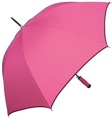 "RainStoppers W071 Auto Open Sport Arc Umbrella with Trim, Bright Pink/Black, 46"""