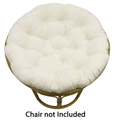 Cotton Craft Papasan Ivory - Overstuffed Chair Cushion, Sink into our Thick Comfortable and Oversized Papasan, Pure 100% Cotton duck fabric, Fits Standard 45 inch round Chair - Chair not (Ivory Fabric Cushions)