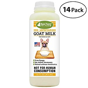 Raw Paws Frozen Raw & Powdered Goat Milk for Dogs & Cats - Made in USA - Milk Replacer for Puppies & Kittens - Goats Milk Supplement for Pets - Pet Food Topper & Enhancer 28