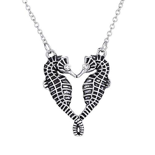 isex Necklace Jewelry Gifts Double Kiss Sea Horse Pendant ()