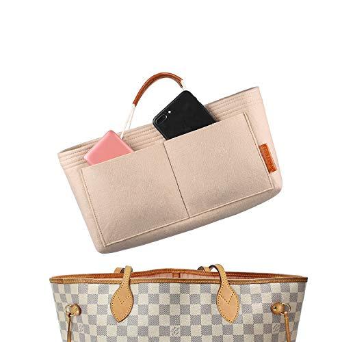 FOREGOER Felt Purse Insert Handbag Organizer Bag in Bag Organizer with Handles (Large, Beige)