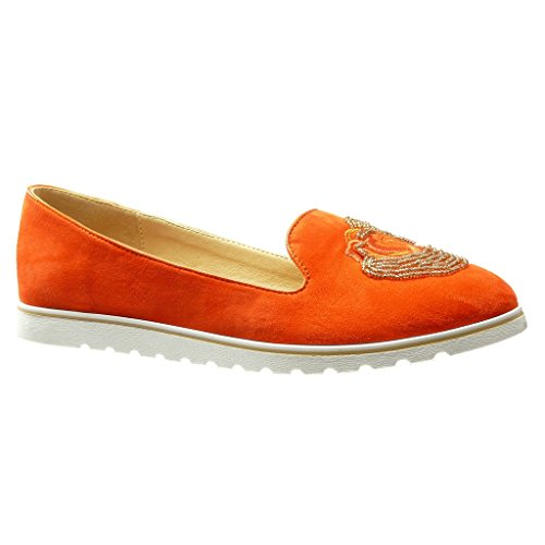 Angkorly - Zapatillas de Moda Mocasines slip-on suela de zapatillas mujer bordado joyas perla Talón Plataforma 2 CM - Naranja