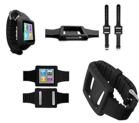 PiGGyB Groovy Silicone Watch Band Case Cover For Apple iPod Nano 6 6th Generation (Black) (Ipod 6th Generation Strap)