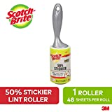 Scotch-Brite Lint Roller, 50 Percent Stickier, 1 Roller with 48 Sheets, Refillable Lint Brush