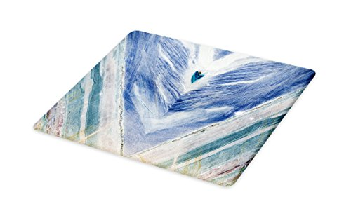 Lunarable Marble Cutting Board, Onyx Stone Tribal Style with Color Elements Agate Authentic Pattern, Decorative Tempered Glass Cutting and Serving Board, Large Size, Teal Dark Blue Pale Grey