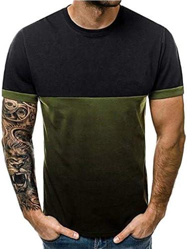 [해외]wodceeke 남성용 티셔츠 패션 라운드넥 패치워크 그라데이션 프린트 반소매 상의 / wodceeke 남성용 티셔츠 패션 라운드넥 패치워크 그라데이션 프린트 반소매 상의