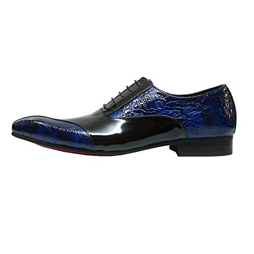Men Blue Toe Pointed Heels Shoes with Encore Designer Stacked and Closed Shoes Dress Oxfords Fiesso Leather qtZaU