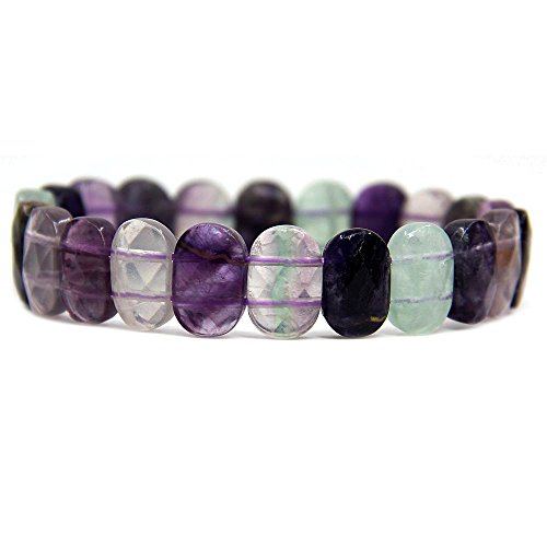 (Amandastone Natural Rainbow Fluorite Gemstone 14mm Faceted Oval Beads Stretch Bracelet 7