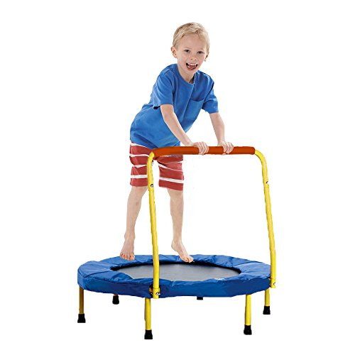 Trampoline - Fold-able Junior Yellow Jumping Trampoline with Safety Handles - Christmas | Gifts | Exercise | Holiday Fun... and much more! by Toy Cubby