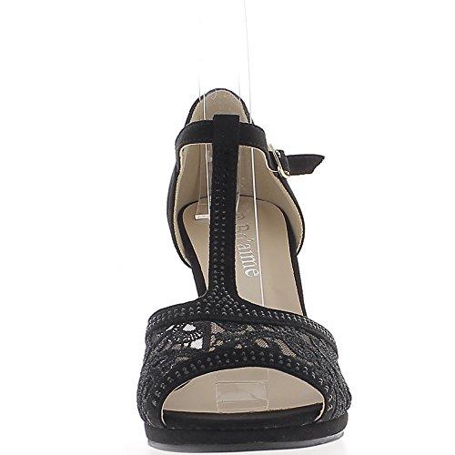 Escarpins ouverts noirs à talon de 8,5cm et petit plateau aspect daim et strass