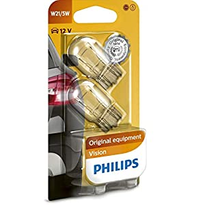 Philips Vision W21/5W 12066B2 Indicator Bulbs Pack of 2 in Blister Pack