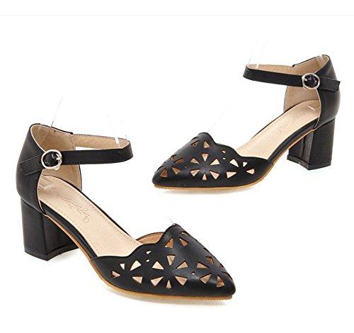 Aisun Women's Comfy Breathable Hollow Ankle Strap Chunky Mid Heels Sandals Black v3JutvYU