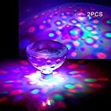 Waterproof Swimming Pool Lights, Kids Baby Bath Lights (5 Lighting Modes), Colorful Bathroom LED Light Toys, Floating Pool Light Bulb for Pool, Pond, Spa, Disco,Hot Tub or Party Decorations (2 Pack)
