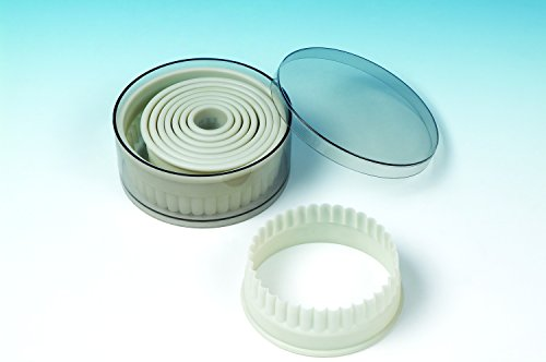 9 piece set acrylic Round Fluted cookie cutter for Cookies, Pastry, Biscuits, Pie Tops, Sugarcraft and Cake decoration