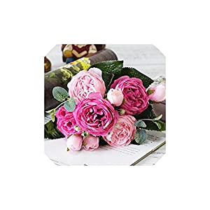 C-J-Shop Beautiful Rose Peony Artificial Silk Flowers Small Bouquet Flores Home Party Spring Wedding Decoration Fake Flower,5 59