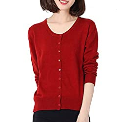 Cyose Fashion Women Sweater Cardigan Knitted Crochet O Neck Tops Poncho Pull Femme Button Cape Rust Red Xxl