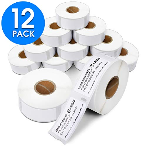 """Aegis - Compatible 30336 (1"""" X 2-1/8"""") Multipurpose Labels Replacement for DYMO 30336 Address & Barcode - for Rollo, Labelwriter 450, 4XL & Zebra Desktop Printers (12 Rolls)"""