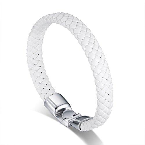 Mens Braided Genuine Leather Bracelet Bangle Biker Punk Rock, Alloy Buckle,,White
