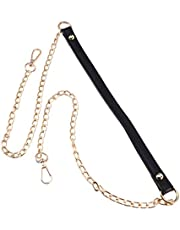Milisten Metal Purse Chain Strap Replacement PU Leather Shoulder Strap with Swivel Hooks Clasp for DIY Purse Handbag Making Craft Black Gold