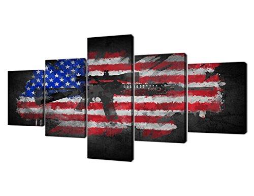 Yatsen Bridge 5 Piece Black White American Flag Gun Wall Art