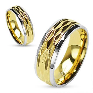 STR-0051 Stainless Steel Gold IP Dia Cut Center Shiny Finish Steel Edges Ring; Comes With Free Gift Box