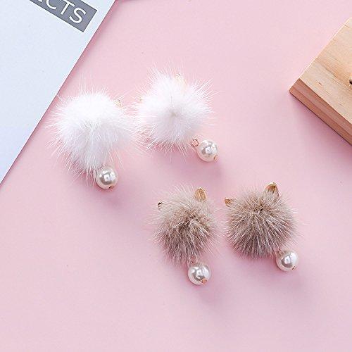South Korea's small fox rabbit ears plush mink fur ball earrings minimalist temperament wild pearl earrings female - Mink Rabbit Fox