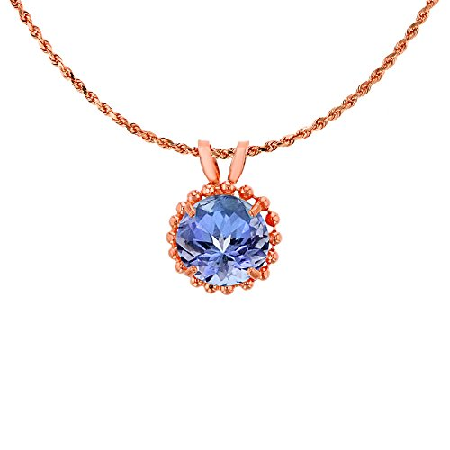 14K Rose Gold 6mm Round Cut Tanzanite with Bead Frame Rabbit Ear 18