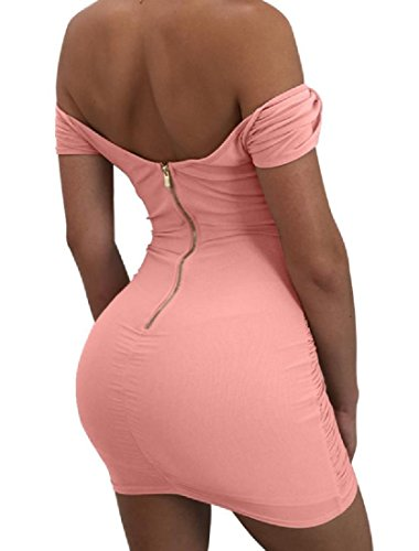 Solid Off Straps Dress Pleated Comfy Package Womens Shoulder Hip Pink Cross xUfYqnAwnR